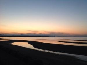 夕焼け 国東の海沿いのコース
