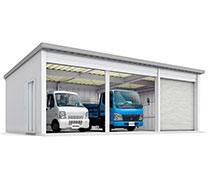 イナバ物置 イナバ倉庫でトラックや車を複数駐車