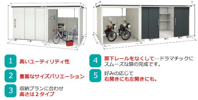 ヨド物置エルモコンビ 車庫にも利用できる大型物置