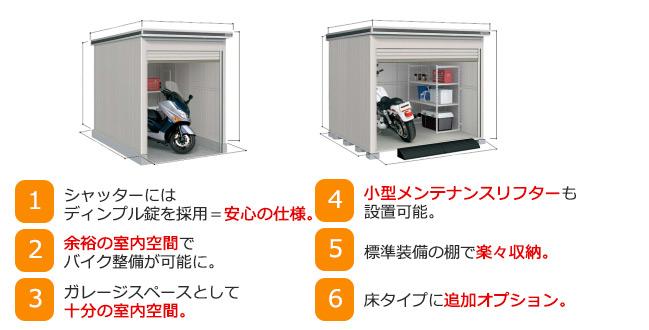 ヨド物置 ヨドバイク物置 大型バイクなど、二輪車のガレージスペースとして